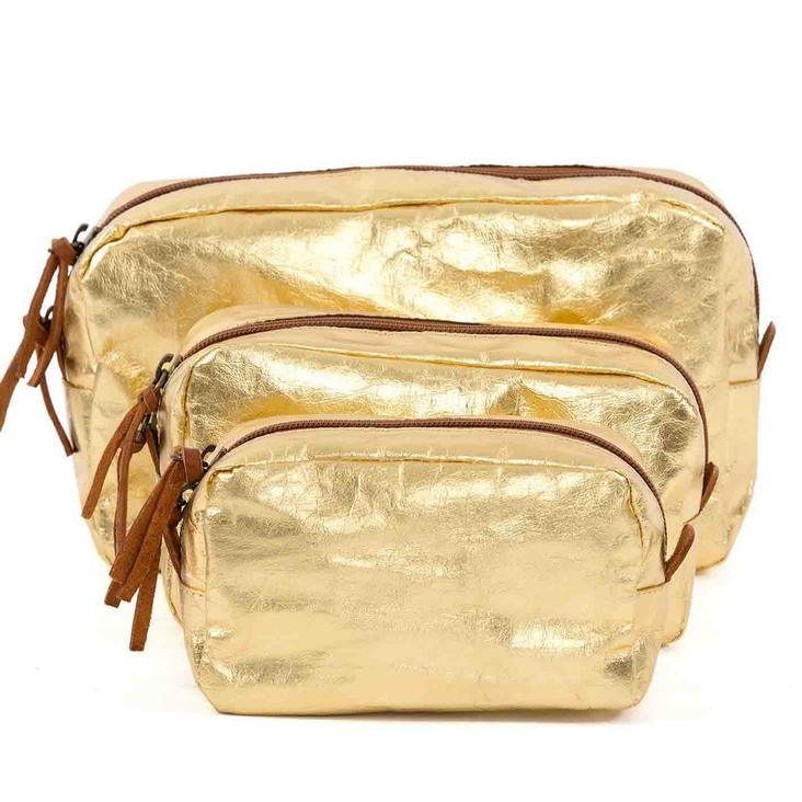 BEAUTY CASE SMALL METALLIC GOLD